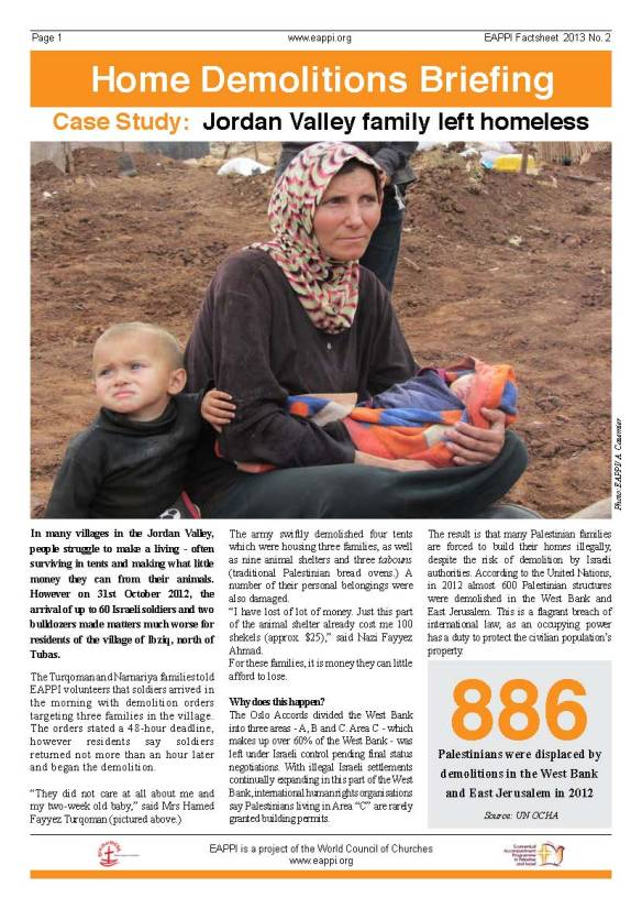 EAPPI factsheet on Israeli demolition of Palestinian homes