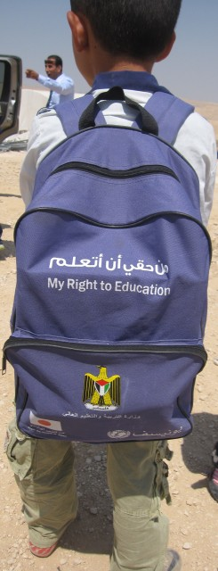 This backpack tells it all: every child has the right to education. Photo EAPPI/B. Rubenson