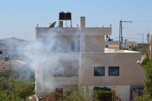 Tear gas surrounds the houses of Kafr Qaddum as the Israeli army often shoots towards the houses. Photo EAPPI/M. Soderstrom.