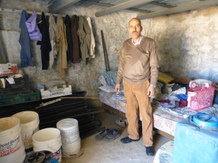 Naim Sarros, a Palestinian Christians has no electricity and cannot receive basic services, whereas the nearby Israeli settlements can. Photo EAPPI/A. Morgan.