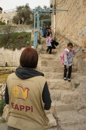 Instead of going along Shuhada street to get to Cordoba school, children must climb a steep staircase. Photo EAPPI/L. Jacob.