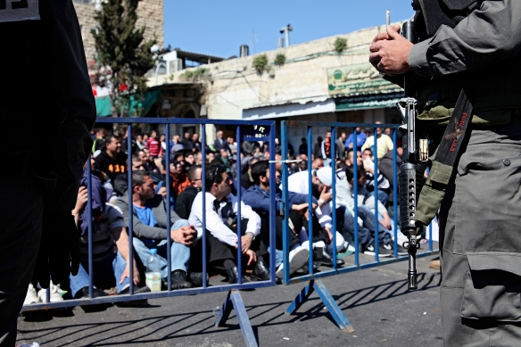 Israeli forces closed access to Al Aqsa mosque for men under the age of 50. 28 February 2014. Photo EAPPI/K. Ranta.
