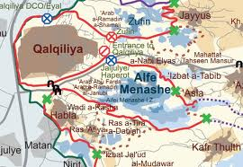 The map of the separation barrier around Alfe Menashe Arab Abu Farda and Arab ar Ramadin al Janubi.
