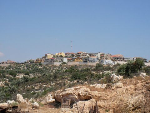 The view of Alfe Menashe settlement from the view of the two bedouin camps. Photo c/o Peace Now.