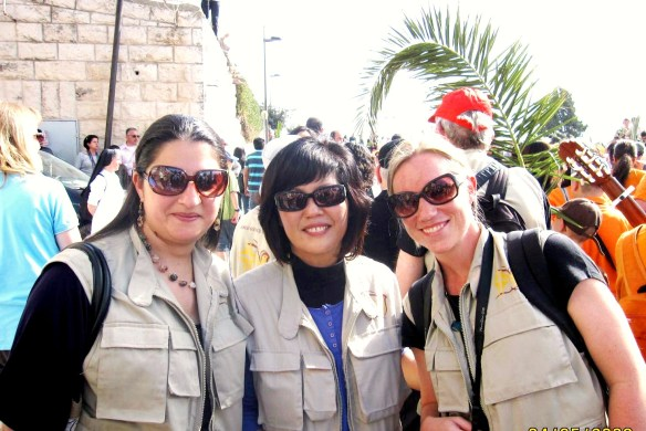 A group of EAs from Canada join Palm Sunday celebrations in Jerusalem. Photo EAPPI.