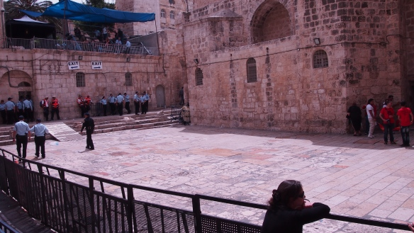 Before 2005, the plaza of the Holy Sepulchre church was open for pilgrims from around the world to congregate and wait for the Holy Fire. Increased restrictions continued this year, meaning that the plaza was empty. Many pilgrims and local Christians became frustrated and weary as they could not reach the Church of the Holy Sepulchre. Photo EAPPI/J. Valkama.