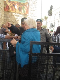 Israeli police set up barriers and restricted access for pilgrims and local Palestinian Christians to enter the Old City at New Gate. Photo EAPPI/L. Coulthard.