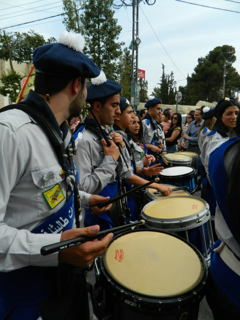 Scout groups from local churches march in the Holy Saturday parade in Beit Jala. Photo EAPPI/L. Hilton.