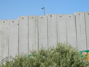 Cameras on the separation barrier look directly into Antoinette's window. Photo EAPPI/L. Hilton.