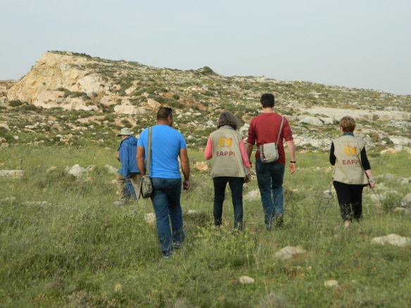 EAs and members of Combatants for Peace walking together at the demonstration. Photo EAPPI/L. Hilton.