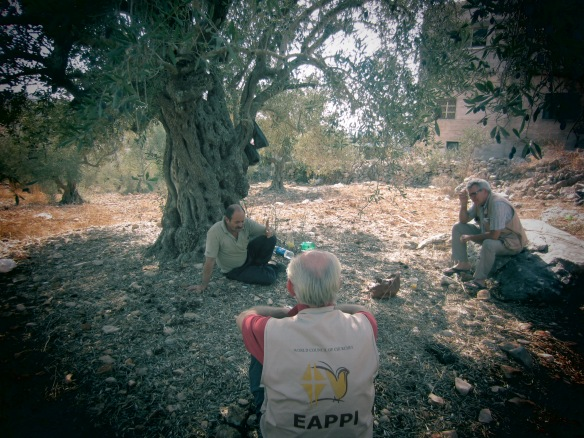 EAs enjoy a break during a long day of harvesting olives.  These everyday encounters are what EAs often remember most. Photo EAPPI/M. Schaffluetzel, 2012.