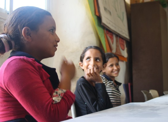 Aisha (12), Nesrin (12), and Manar (12) go to the Tire school in El Eizariya. Photo EAPPI/M. Fuentes.