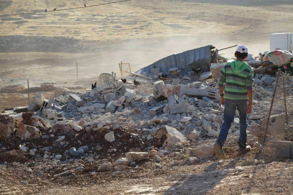 The remains of the house demolished on 20th August 2014 in Tawayel Photo EAPPI/N. Forsstroem.