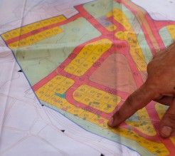 A map of the plots planned for houses where bedouin will be forcibly relocated. Photo EAPPI/BG. Saltnes.