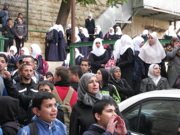 On November 5, girls going to Al Sharim Sharif girls school are waiting to access the Al Aqsa mosque compound for the school day. Photo EAPPI/D. Hubbard.