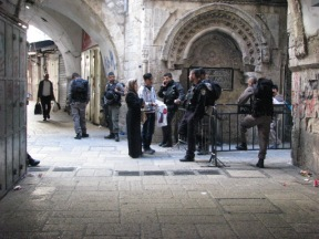 A woman and man are denied access to the Al Aqsa mosque compound. Photo EAPPI.
