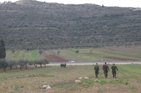 Soldiers and the Israeli DCO outside As Sawiya School. - A, Tesche