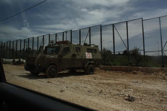 08.04.15_Bethlehem, Husan. Armored vehicle on HusanArmored vehicle from the Israeli military on the main street of Husan. Photo: EAPPI / I. Baukhol.