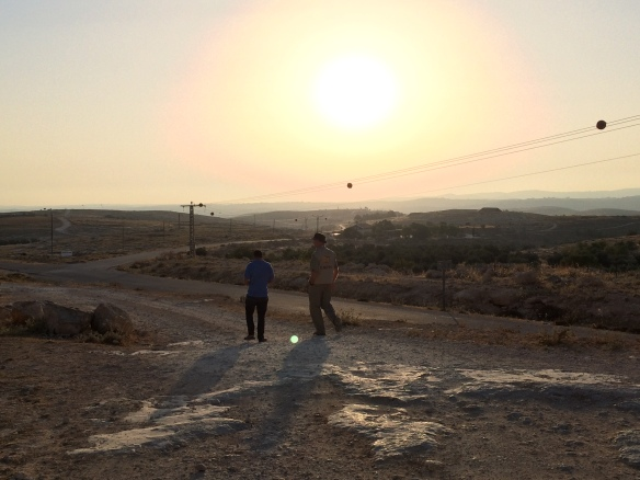01.0.15, Susiya, EA and Nasser Nawajah walking outside Susiya Photo EAPPI / A. Forsberg