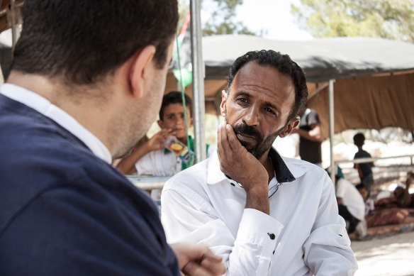 09.08.15, Jaba-Al-baba, Attalah Mazarah of the Jahalin tribe in Jabal Al Baba discusses the future of the Jahalin Bedouins with Munir Nuseibeh, director of the Human Rights clinic at Al Quds University. Photo EAPPI / E. Aldenber