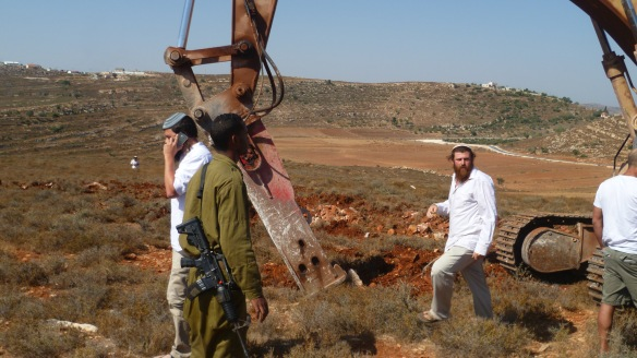 Settler disturbing Palestinians' work (preparation of the land for cultivation),