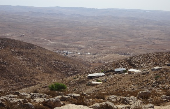 11.10.15 South Hebron Hills, Bir al 'Idd-Ziad's homestead overlooks the village of Jinba and the Negev in the background. Photo EAPPI/ J.Toureille