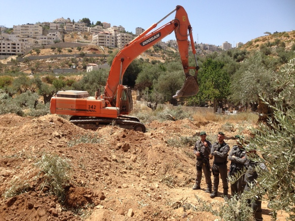 17.08.15. Bethlehem, Bir Onah machines and soldiers uprooting Olive groves. Photo EAPPI/T. Finstad