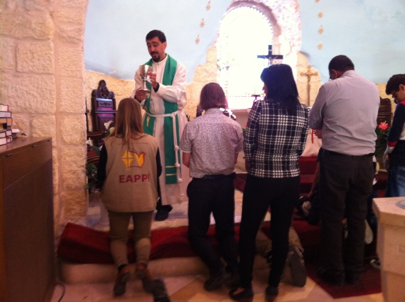 01.11.15, Bethlehem -Beit Jala, church service at Reformed Lutheran nearby the Abraham's Herberge (EA participates at the communion), Photo EAPPI  D.Daut