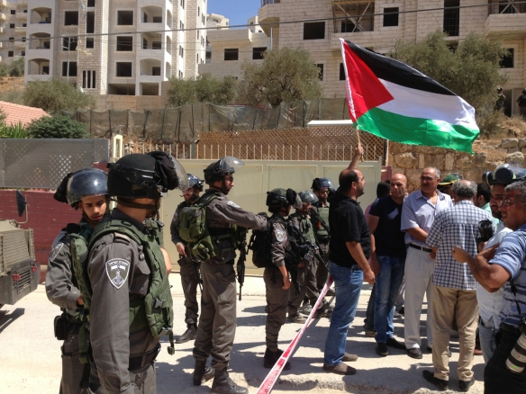 06.09.15 Bir Ouna land owner in front of Israeli soldiers during Sunday demonstration Photo EAPPI/T. Finstad