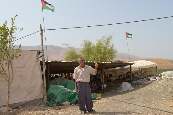 12.10.15. Jordan Valley, Humsa. Mahmod in front of what remains of his home. Photo EAPPI/ J. Puukki