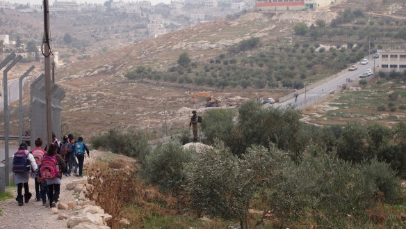 16.11.15 Bethlehem, Tuqu, Military presence next to Tuqu school, Photo EAPPI/S. Rehell