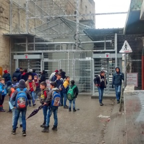 Children waiting outside Checkpoint 56 Hebron H2. EAPPI/M. Botelho 30.12.15