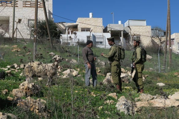 05.03.16, Hebron. 1Soldiers threatening Abu Jabari. EAPPI/A. Kaiser