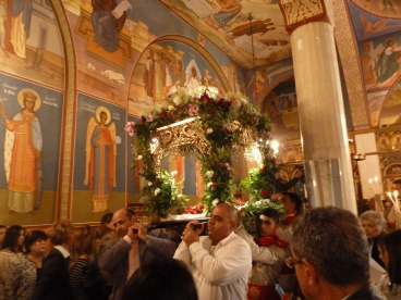 19. Inside The Church of the Holy Sepulchre: Good Friday 'Burial Service'. Photo EAPPI/ C. Merer.