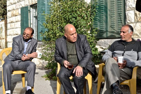 02.03.16 Al Khadr Teachers drink tea outside the Boys' Secondary School EAPPI/K. Fox