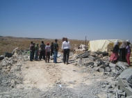 NGOs arrive in Wadi J'Hesh to access communities needs after demolitions. EAPPI/S, Ntombeni. 20.06.2016