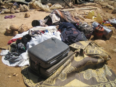 Belongings gathered prior to demolition. EAPPI/S. Ntombeni.