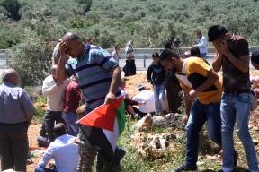14.04.16, Demonstrators affected by pepper spray, Deir Istiya, EAPPI/M. Andren