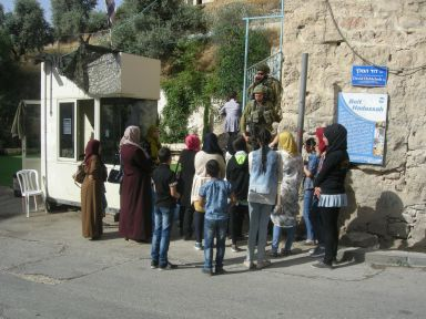 Teachers and students being denied access to Cordoba school during end of year examinations, Hebron Photo EAPPI/P.A. Skytt