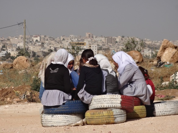 South Hebron Hills. Girls chat in Zif school garden. Photo EAPPI/M. Kileby 27.05.16