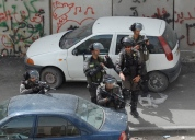 Soldiers during clashes next to Shuafat school. Jerusalem Photo EAPPI/H. Jonsson. 28.05.15