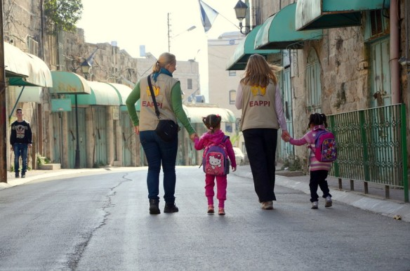 EAs escort schoolchildren to Cordoba school on Shuhada street in Hebron